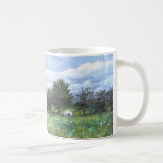 Landscape green with white horse coffee mug