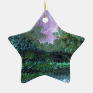 landscape in August Ceramic Star Decoration