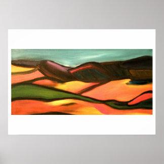 Landscape in orange and greens poster