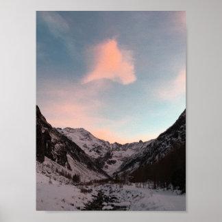 Landscape in winter, in wonderful italian mountain poster