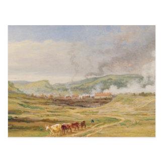 Landscape near Swansea, South Wales (oil on panel) Postcard