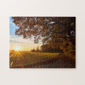 Landscape oak forest with sunset autumn jigsaw puzzle