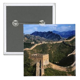 Landscape of Great Wall, Jinshanling, China 15 Cm Square Badge