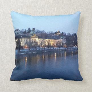 Landscape of Újezdv in Early Evening Cushion