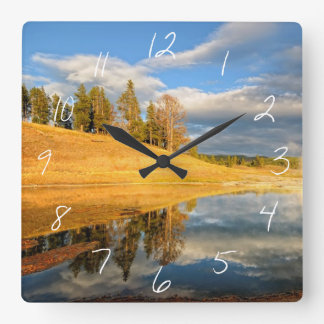 Landscape of Yellowstone Square Wall Clock