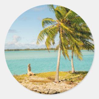 Landscape off will bora will bora classic round sticker