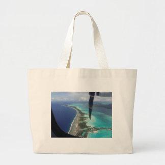 Landscape off will bora will bora large tote bag