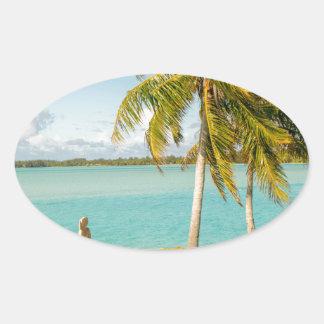 Landscape off will bora will bora oval sticker