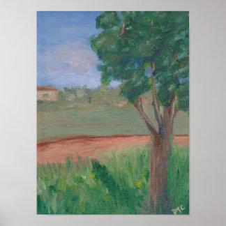 landscape original oil painting tree poster