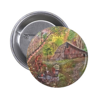 landscape paint painting hand art nature 6 cm round badge