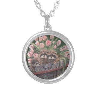 landscape paint painting hand art nature Racoons Round Pendant Necklace