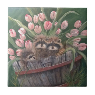 landscape paint painting hand art nature Racoons Small Square Tile