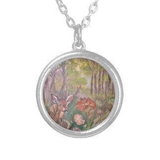 landscape paint painting hand art nature round pendant necklace