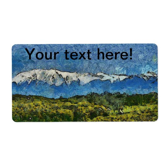 Landscape painting shipping label