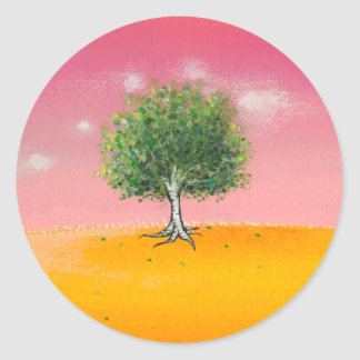 Landscape painting tree warm colorful sunny art round stickers