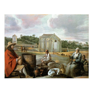 Landscape,Peasants & a Chapel by Le Nain brothers Postcard