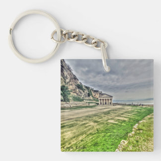 Landscape picture taken in Corfu, Greece Double-Sided Square Acrylic Key Ring