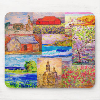 landscape pop art collage mouse pad