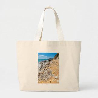 Landscape rocky coast Kefalonia Greece Large Tote Bag