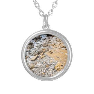 Landscape rocky coast Kefalonia Greece Silver Plated Necklace