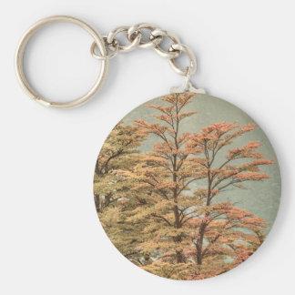 Landscape Scene Colored Trees at Glacier Lake Key Ring