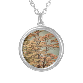 Landscape Scene Colored Trees at Glacier Lake Silver Plated Necklace