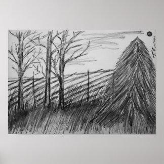 Landscape sketch poster