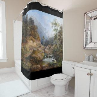 Landscape Stream Pastoral Painting Shower Curtain