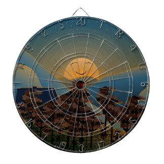 Landscape sunset dartboard