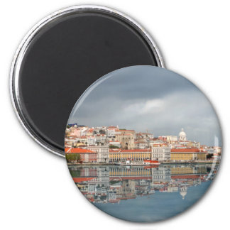 Landscape view of buildings in Lisbon, Portugal 6 Cm Round Magnet
