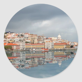 Landscape view of buildings in Lisbon, Portugal Round Sticker