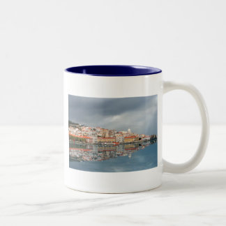 Landscape view of buildings in Lisbon, Portugal Two-Tone Mug