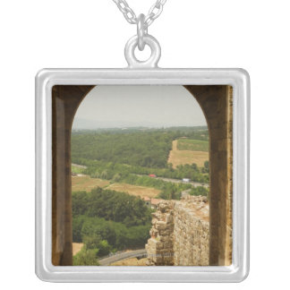 Landscape viewed through an archway, Porta Silver Plated Necklace