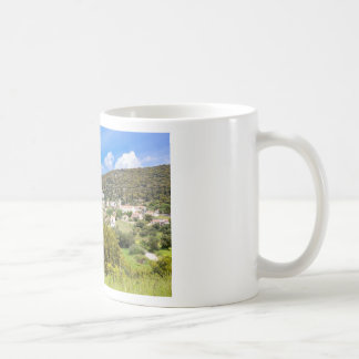 Landscape village with houses in Greek valley Coffee Mug