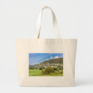 Landscape village with houses in Greek valley Large Tote Bag