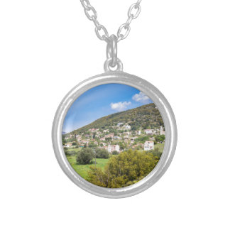 Landscape village with houses in Greek valley Silver Plated Necklace