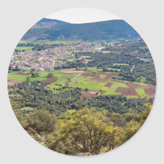 Landscape village with houses in valley of Greece Classic Round Sticker