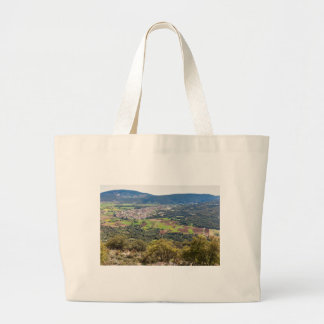 Landscape village with houses in valley of Greece Large Tote Bag