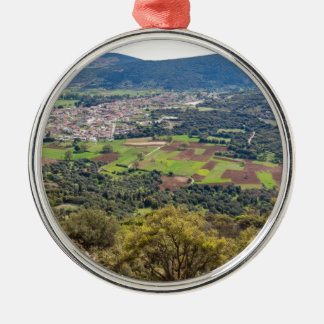 Landscape village with houses in valley of Greece Metal Ornament