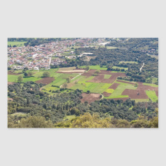 Landscape village with houses in valley of Greece Rectangular Sticker