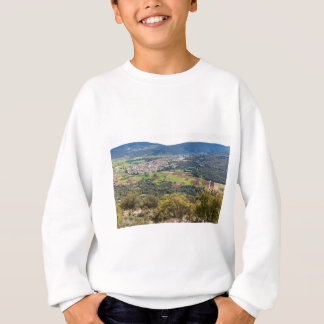 Landscape village with houses in valley of Greece Sweatshirt