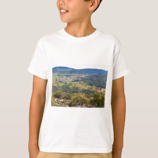 Landscape village with houses in valley of Greece T-Shirt