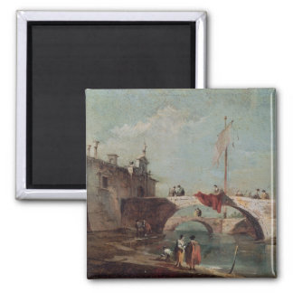 Landscape with a Canal Square Magnet
