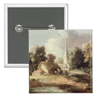 Landscape with a Church, Cottage, Villagers and An 15 Cm Square Badge