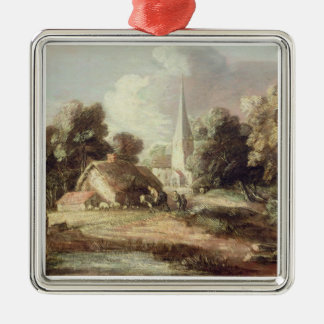 Landscape with a Church, Cottage, Villagers and An Christmas Ornament