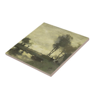 Landscape with a farm pond by Johan Weissenbruch Ceramic Tile