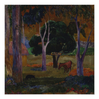 Landscape With a Pig and a Horse by Paul Gauguin