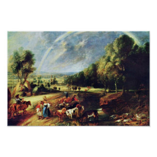 Landscape With A Rainbow By Rubens Peter Paul Poster