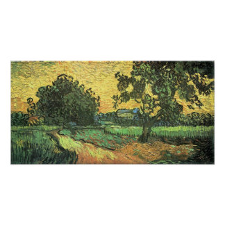 Landscape with Castle Auvers, Sunset by van Gogh Poster