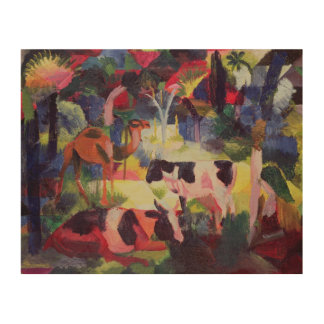 Landscape with Cows and a Camel Wood Canvas